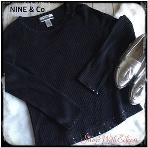 NINE & Company Black Ribbed SequinDetail Sweater